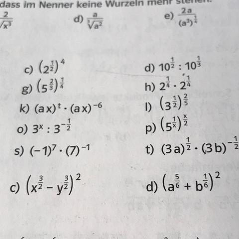 Es ist die s) und die t) - (Mathe, Potenzen)
