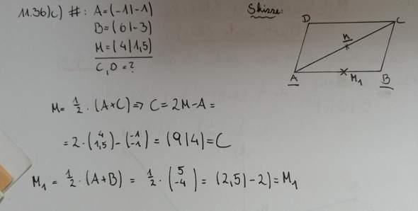 Mathe Mittelpunkt eines Vektors Aufgabe?