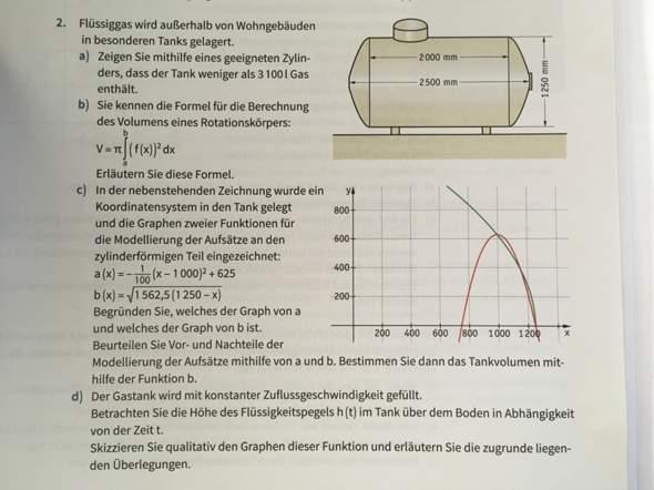 Kann jemand bei diesem Matheproblem zu Volumen und GEstank helfen?