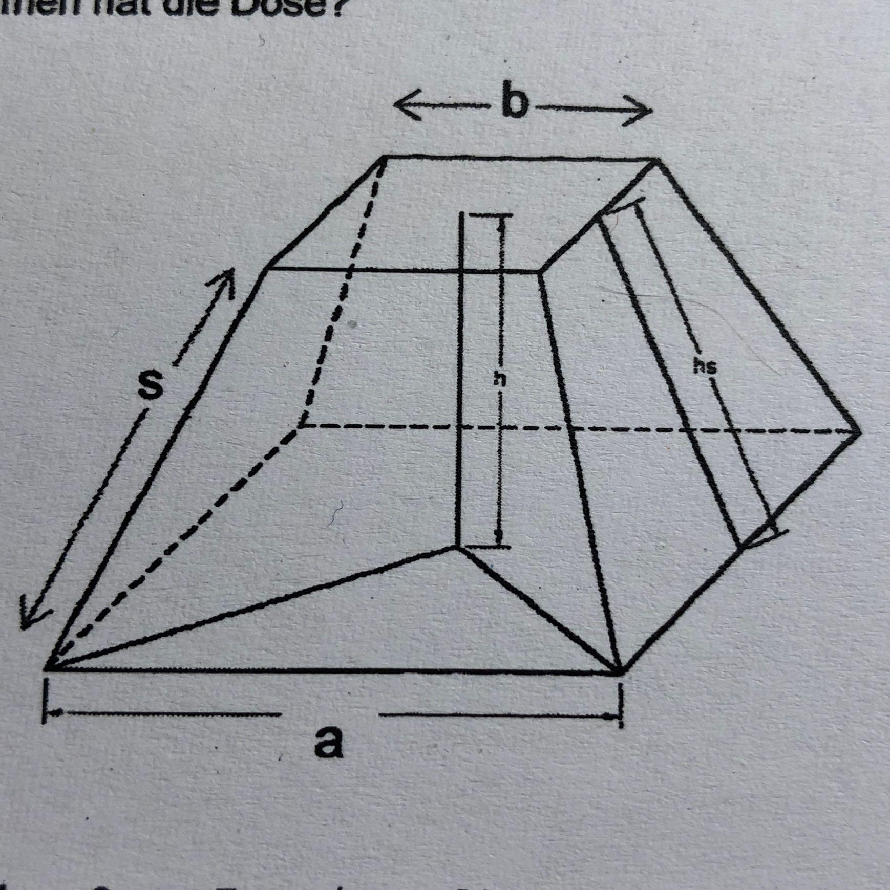 mathe pyramidenstumpf k rperberechnung schule. Black Bedroom Furniture Sets. Home Design Ideas