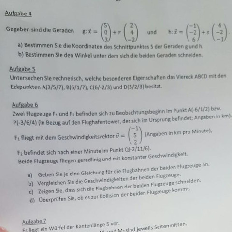 Fie Aufgabe 4b) - (Mathe, vektoren)