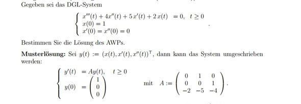 Mathe: Wie kommt man auf die Matrix (hom. Lin. AWP)?