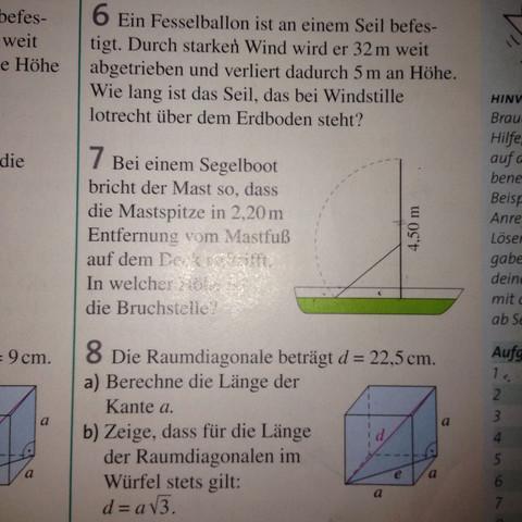 Hier ist das Bild zu den Aufgaben - (Mathe, Satz des Phytagoras)