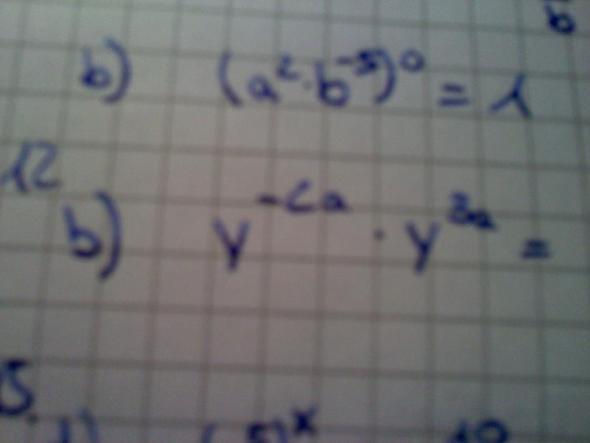 12 b) y hoch -2a * y hoch 3a - (Mathe, Mathematik, potenz)