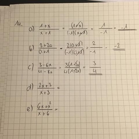 (Aufgabe d & e) - (Mathe, Bruch)