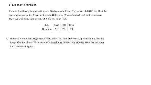 Angabe und Frage - (Mathematik, exponential)