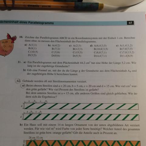 Aufgabe 12a - (Mathematik, Parallelogramm)