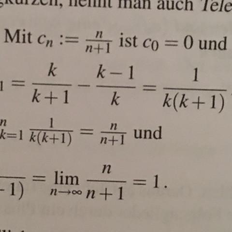 Den Schritt zwischen k/k+1 - k-1/k  zu = 1/k(k+1) - (Schule, Mathematik, Uni)