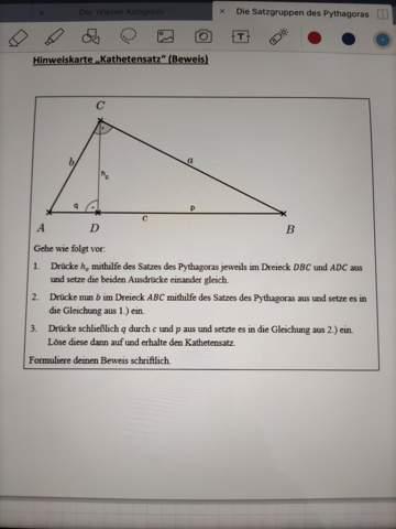 Mathematik Kathetensatz Beweisen?