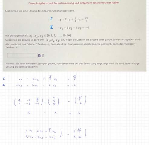 Matrizen Gleichungssystem-2 Gleichungen mit 3 Unbekannten?