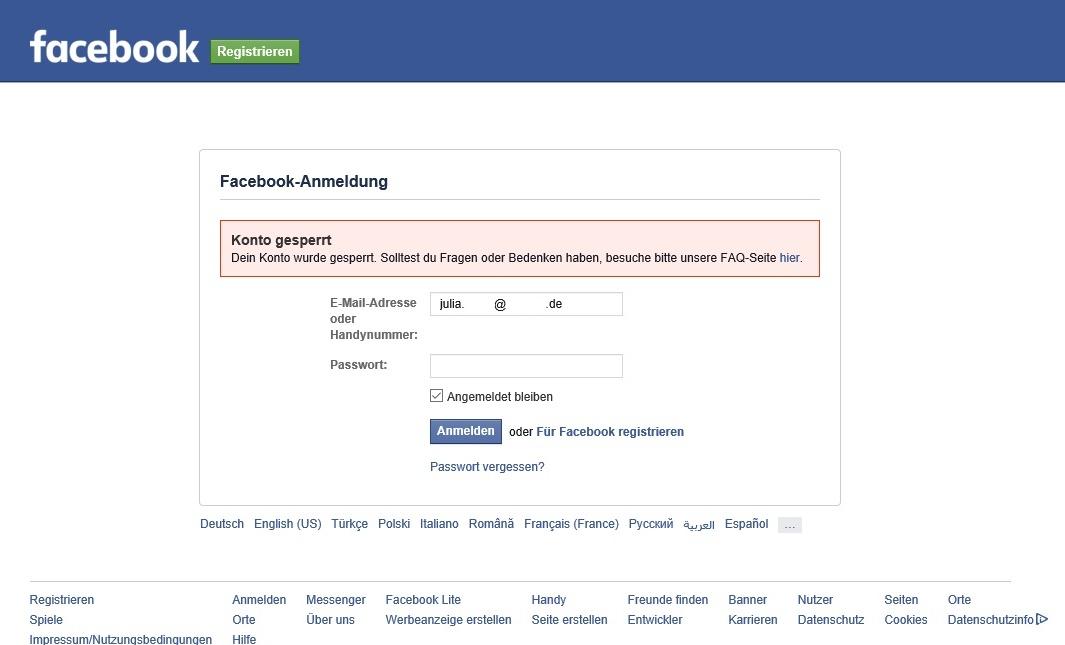 Facebook Profil Gelöscht Oder Blockiert