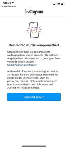 Instagram Konto Kompromittiert