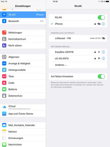 Hier sieht man, dass sich mein iPhone zweimal als verfügbares W-Lan ausgibt - (Computer, Technik, Apple)