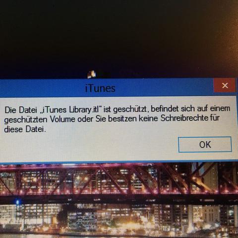 Das zeigt es mir dauerhaft beim öffnen an  - (Apple, iTunes, Fehlermeldung)