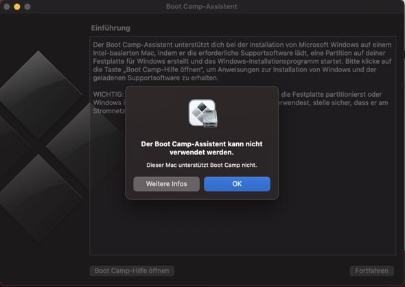 Mein Mac unterstützt den Boot Camp Assistent nicht. Was kann ich tun?