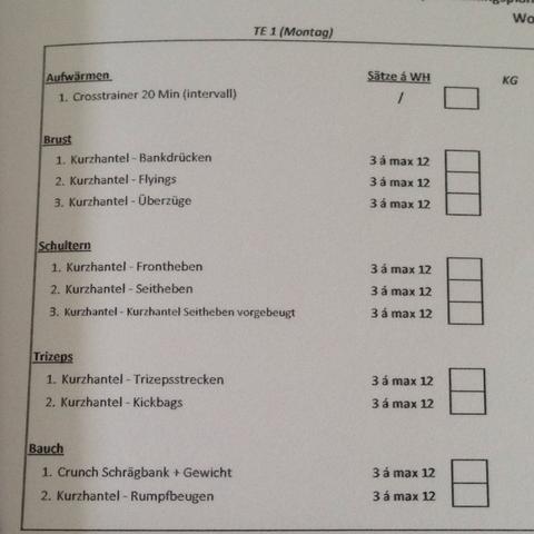 TE 1 Mo und Do - (Sport, Krafttraining, Bodybuilding)