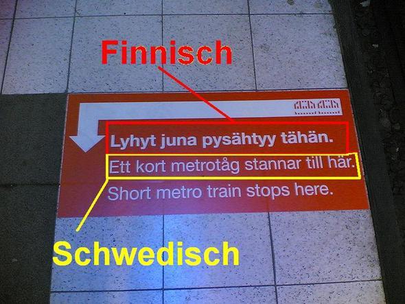 Zweisprachige Beschilderungen in der U-Bahn - (Sprache, finnland, helsinki)