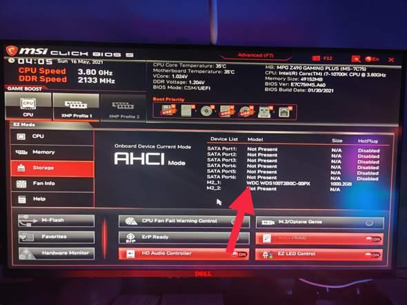 Meine M2 wird beim booten nach PC Upgrade nicht angezeigt?