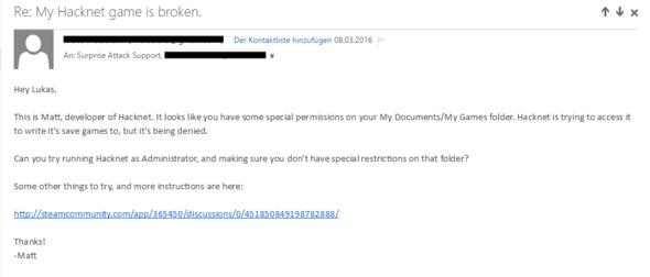 Bild 1, E-Mail des Entwicklers - (Computer, Ordner, Error)