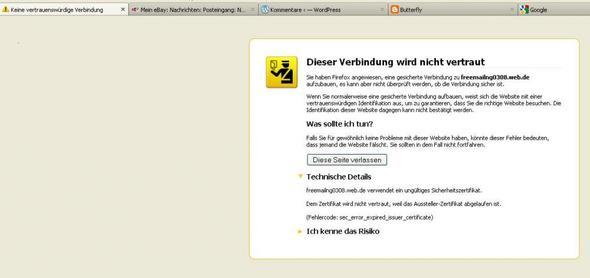bild 1 - (Fehlermeldung, web.de, einloggen)