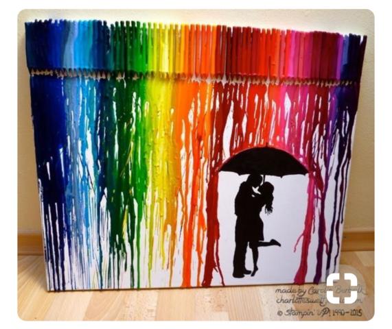 Melted Crayon Art Als Geschenk Liebe Freunde Farbe