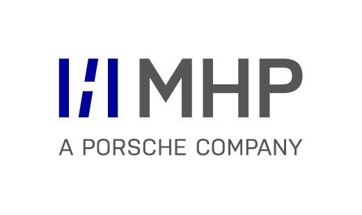 MHP - a Porsche Company , was bedeutet das blaue Logo?