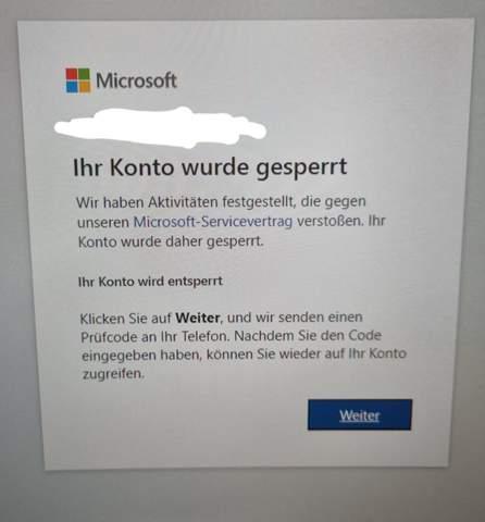 Microsoft Account ohne Grund gesperrt?
