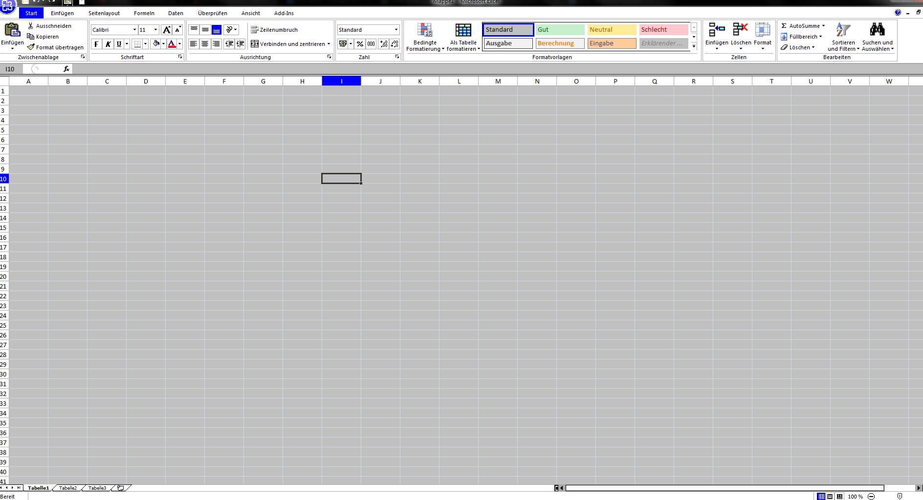 Microsoft Excel alle Zellen grau hinterlegt