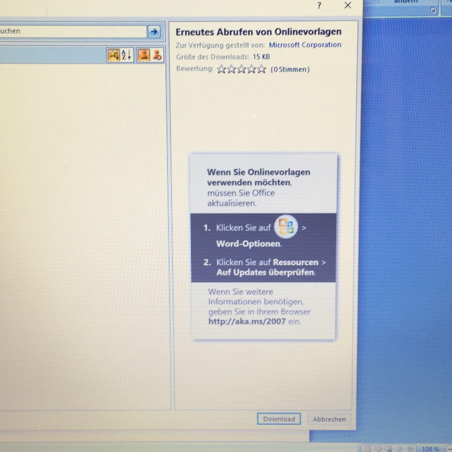 Microsoft Office Word 2007 online Vorlagen gehen nicht mehr? (Software)