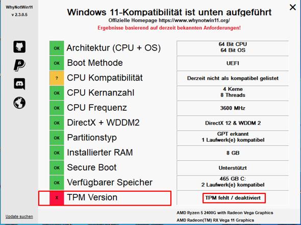 Microsoft Windows 10 - Update auf Microsoft Windows 11 - TPM?