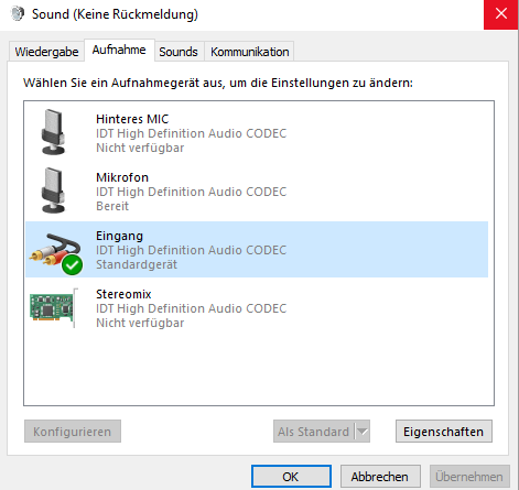 Sounds Aufname  - (PC, Windows 10, Mikrofon)