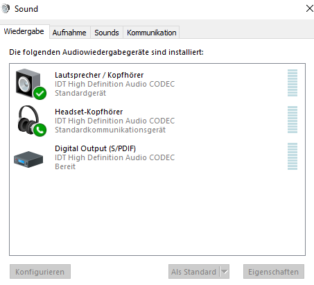 Sounds Wiedergabe - (PC, Windows 10, Mikrofon)