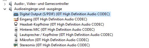 Geräte Manager Aus- und Eingänge - (PC, Windows 10, Mikrofon)