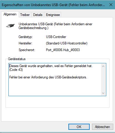 """Eigenschaft vom """"unbekannten Gerät"""" - (PC, Fehlermeldung, Windows 10)"""