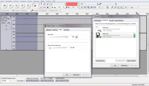Mikrofonlautstärke 100/Verstärkung 0.0 dB - (Windows 7, audio, Mikrofon)