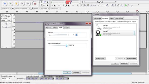Mikrofonlautstärke 0/Verstärkung +40.00 dB - (Windows 7, audio, Mikrofon)