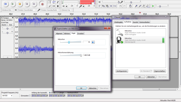 Mikrofonlautstärke 41/Verstärkung +40.00 dB - (Windows 7, audio, Mikrofon)