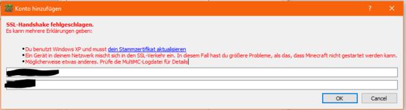 Screenshot vom Login Fenster - (Computer, Minecraft, SSL)