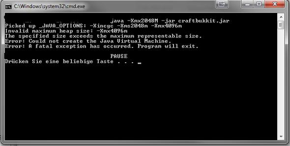 Fehlermeldung - (Java, RAM, Bukkit server)