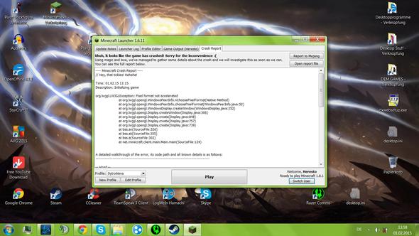 Screenshot vom crash - (Minecraft, Absturz)