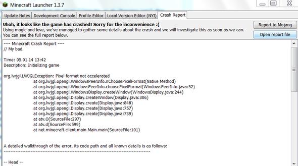 1. Abschnitt der Minecraft Fehlermeldung - (Minecraft, Fehlermeldung)