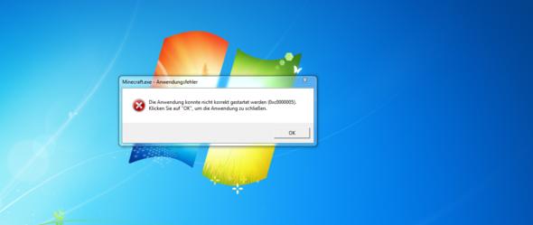 Anwendungsfehler - (Computer, Minecraft, Fehlermeldung)