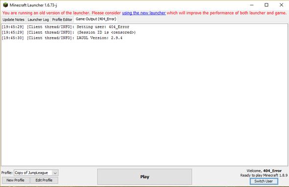 Der Fehlercode. - (Minecraft, Error, startet-nicht)