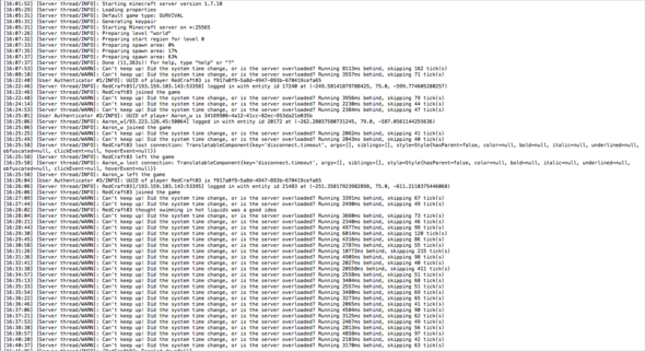 Das ist einer der logs bei denen der Server abgeschmiert ist. - (Minecraft, Server, zocken)