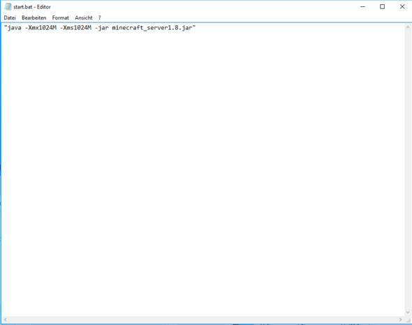Hier ist die Batch datei zu sehen - (Minecraft, Server, Mods)