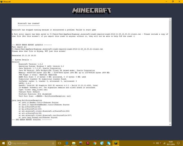 Minecraft Crash - (PC, Minecraft, Update)