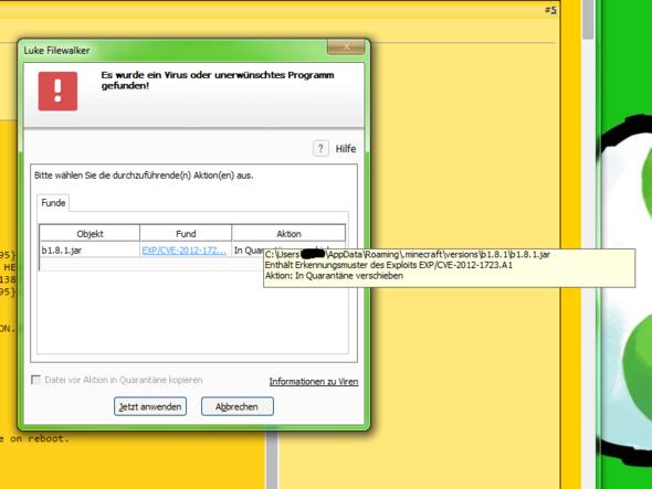 Das Bild von meinem Antivir - (Minecraft, Virus, beta)