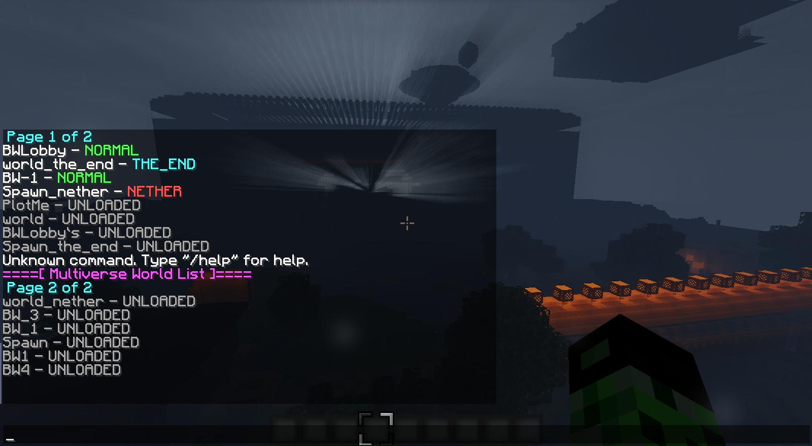 Minecraft Multiverse Unloaded - Minecraft server neue welt erstellen befehl
