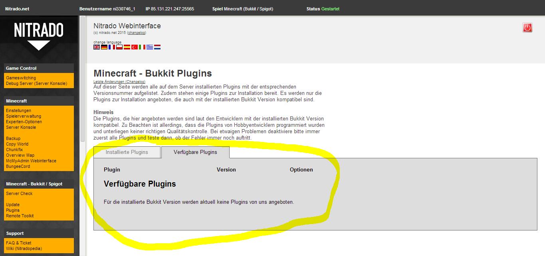 Minecraft Nitrado Server Plugins Sind Nicht Da Games Plugin - Minecraft server webinterface erstellen