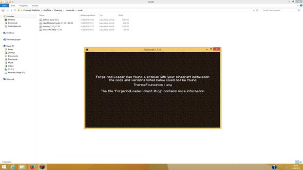 Fehlermeldung mit Mods Ordner - (Minecraft, Mods, Forge)